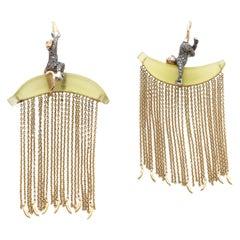Monkey Chain Lemon Quartz Diamond Rose Gold and Sterling Silver Dangle Earrings