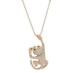 Monkey Diamond Gold Pendant