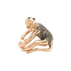 Monkey Ear Hugger 18 Karat Gold and Sterling Silver and Diamond Earring