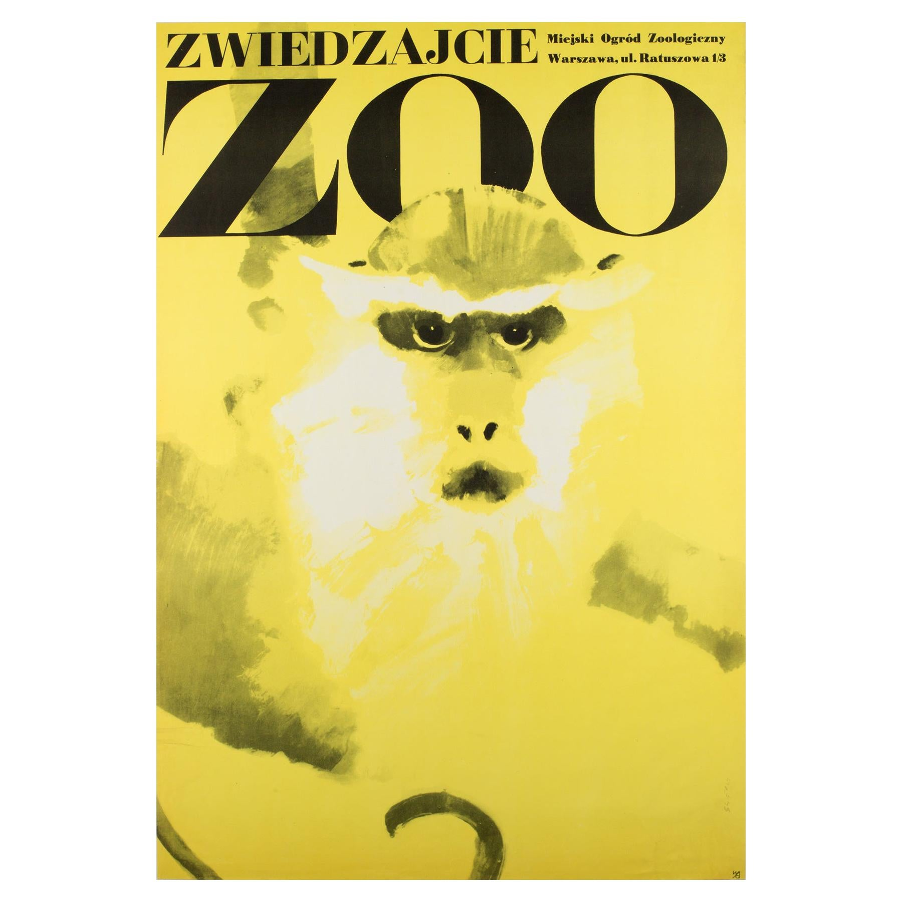 Monkey, Polish, Zoo, Poster, 1967, Vintage, Waldemar Swierzy, Yellow