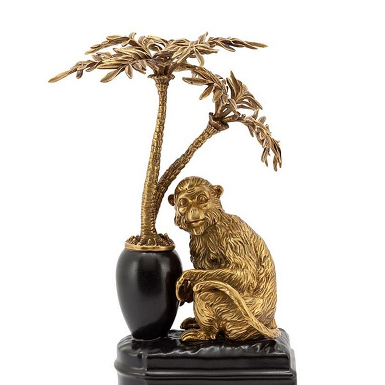 Hand-Crafted Monkeys and Palms Set of 2 Bookends For Sale