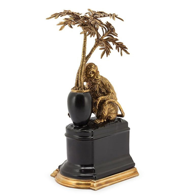 Contemporary Monkeys and Palms Set of 2 Bookends For Sale