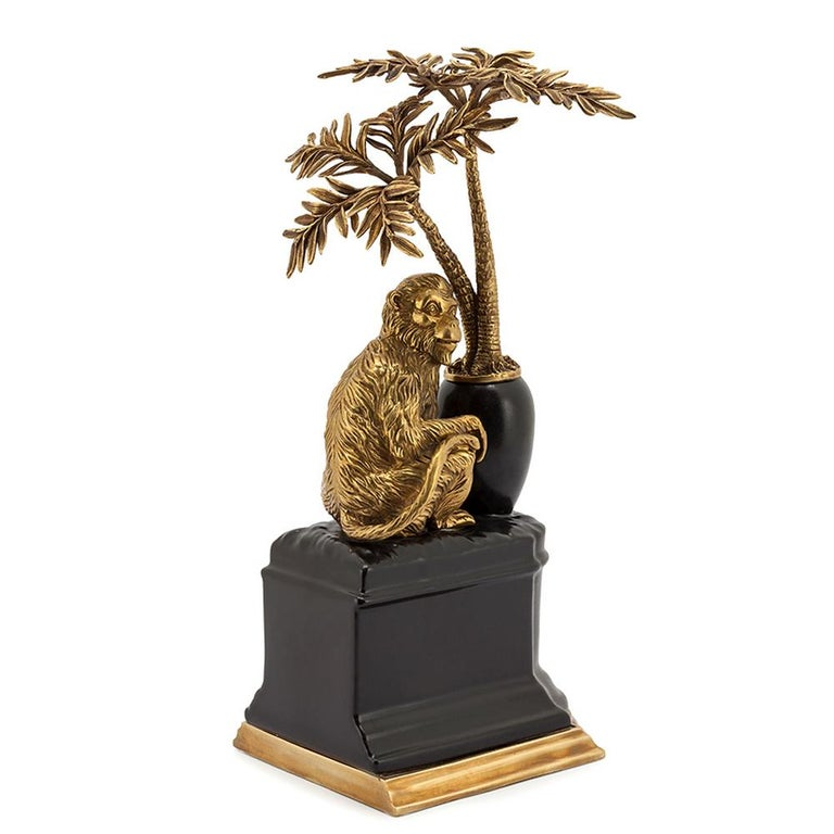 Bronze Monkeys and Palms Set of 2 Bookends For Sale