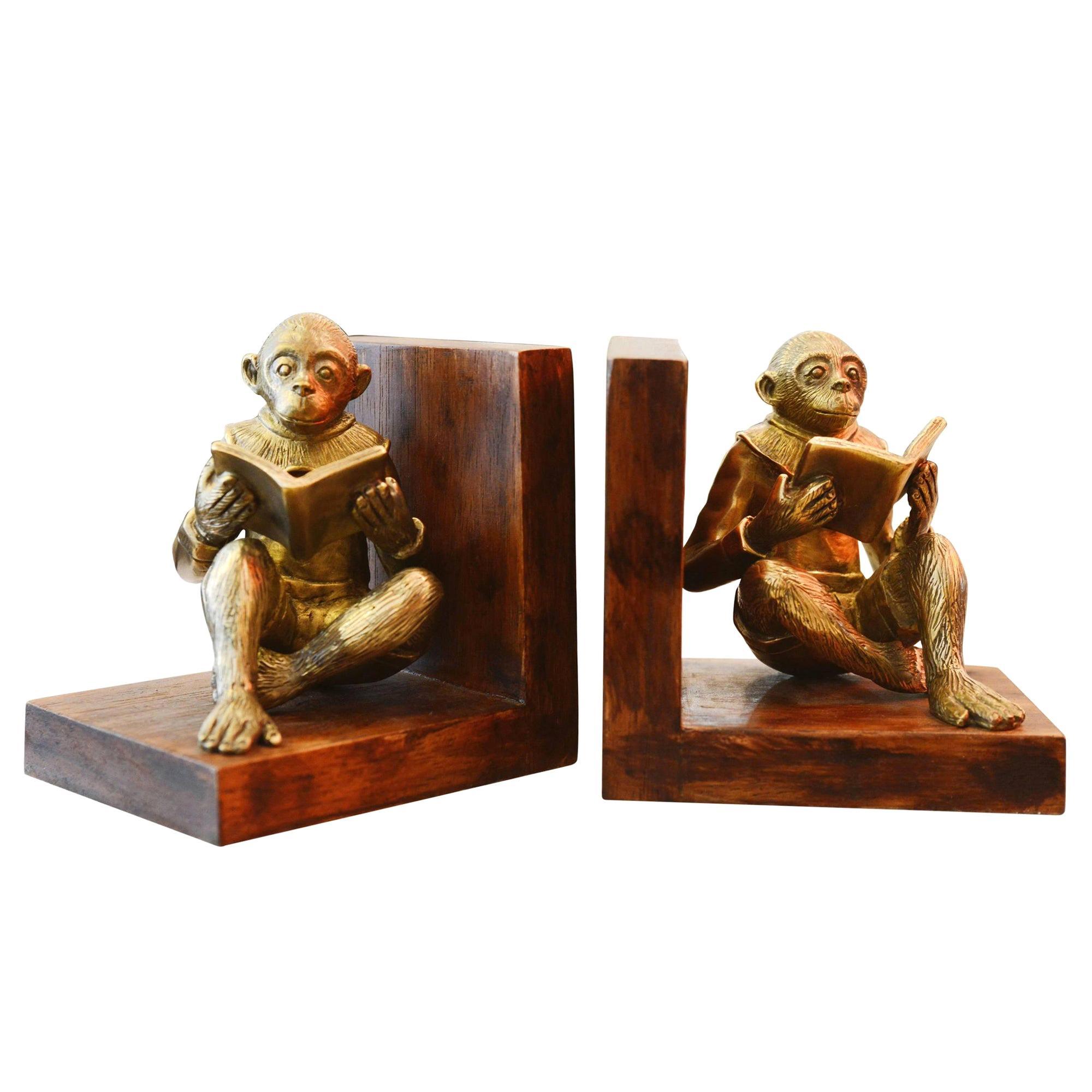 Monkeys Readers Bookends Set of Two in Bronze