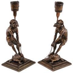 Monkeys Riding Turtles Bronze Candlesticks