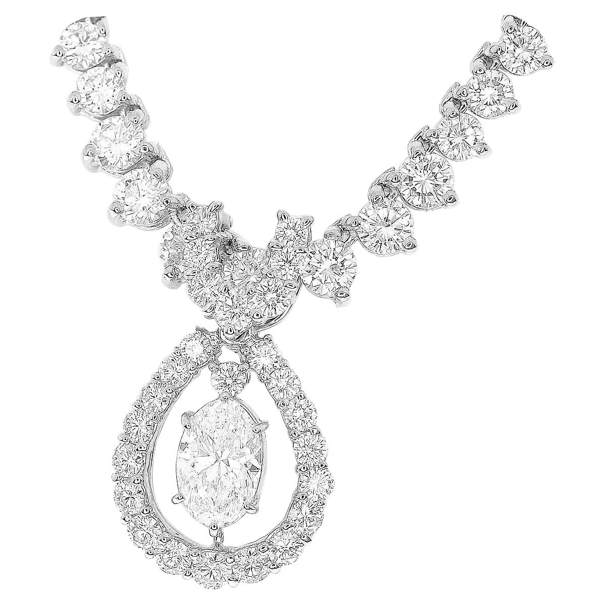 Monnickendam Oval Brilliant Cut 1.008 Carat Diamond Platinum Pendant Necklace