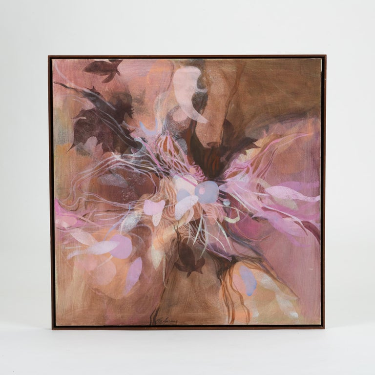 A framed oil painting on square canvas with an abstract pattern reminiscent of flowers. Fetchingly monochromatic, the image features wavy, petal-shaped constructions in a color palette of mauves and lilacs. The canvas appears to float in a slightly