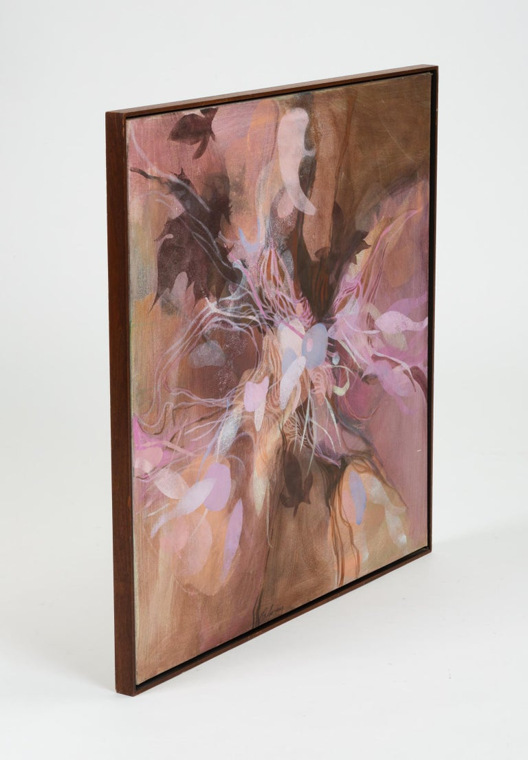 20th Century Monochromatic Abstract Floral Painting For Sale
