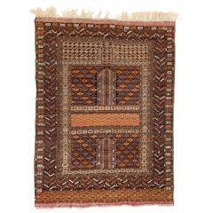 Monochromatic Afghan Hachlu New Zealand Wool Hand Knotted Rust Rug or Tapestry