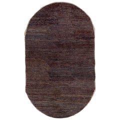 Monochromatic Antique Chinese Oval Rug with Striation, circa 1920s