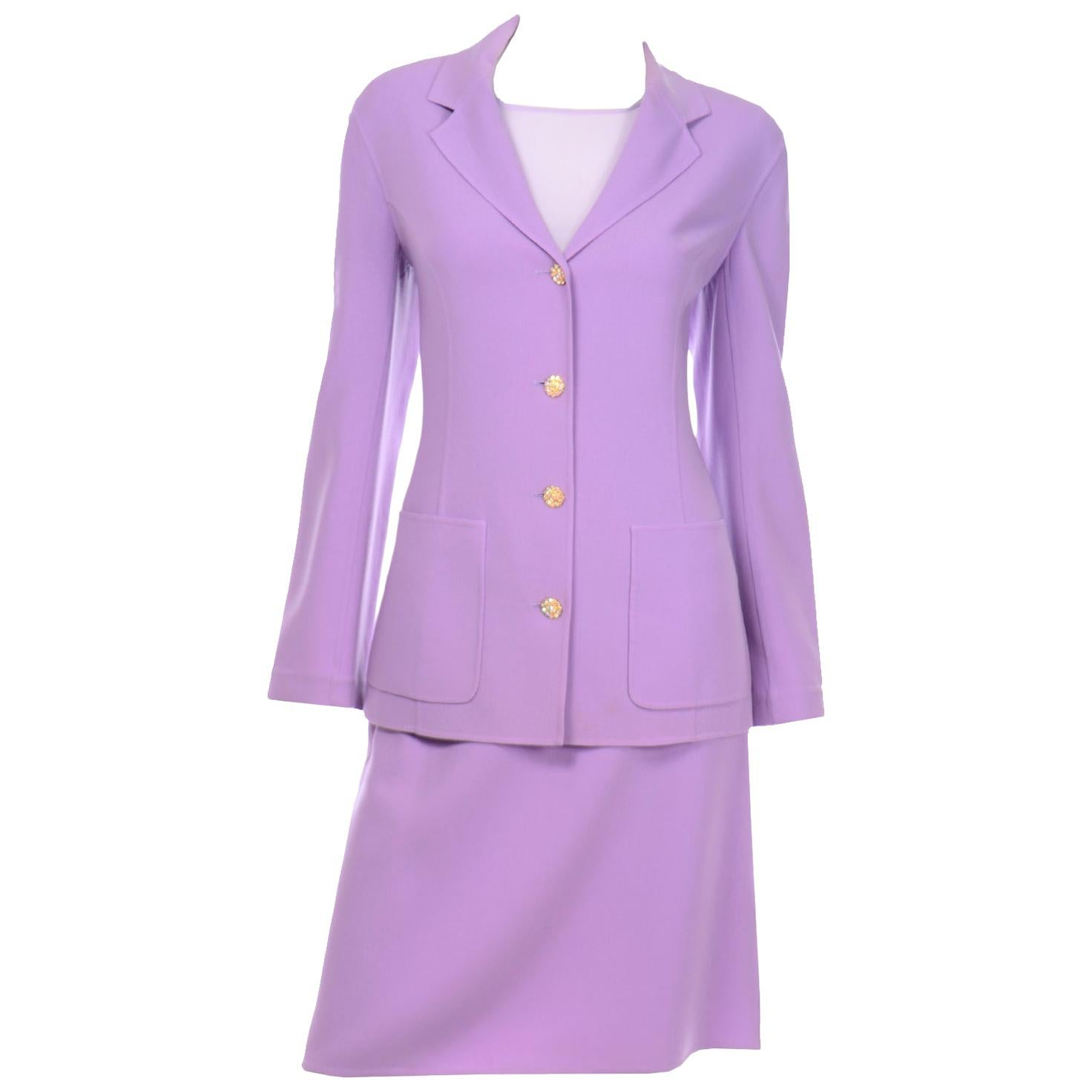 Monochromatic Celine Monochromatic Lavender Skirt Jacket Suit