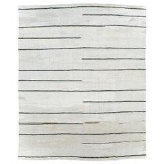 Monochromatic Contemporary Turkish Kilim Room Size Carpet In Black and White