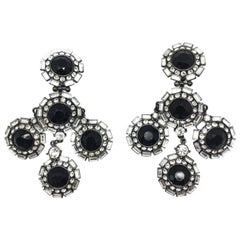Monochrome Crystal Statement Earrings Shoulder Dusters