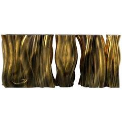 Monochrome Console Gold in Molded Fiberglass