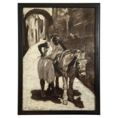 Monochrome Orientalist Oil Painting Titled High Noon Signed James Kinsella