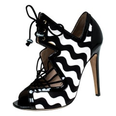 Monochrome Satin And Patent Leather Cut Out Strappy Sandals Size 37
