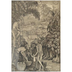 Monochrome Watercolor of Bucolic Figures, I Wayan Punduh, Bali