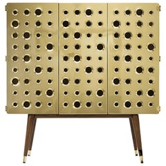 Monocles Cabinet in Brass and Wood