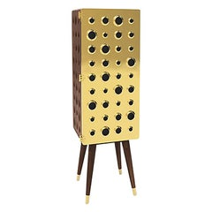 Monocles Tall Cabinet in Brass and Wood