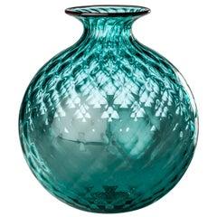 Monofiore Balaton Glass Vase in Horizon with Red Thread Rim by Venini