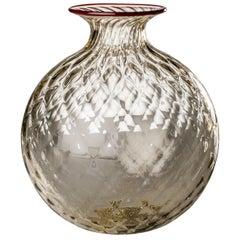 Monofiore Balaton Glass Vase in Pale Straw with Red Thread Rim by Venini