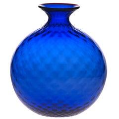 Monofiore Balaton Glass Vase in Sapphire with Red Thread Rim by Venini