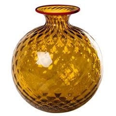 Monofiore Balaton Glass Vase in Topaz with Red Thread Rim by Venini