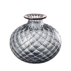 Monofiore Balaton Short Glass Vase in Grey with Green Thread Rim by Venini