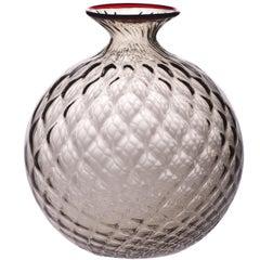 Monofiore Balloton Glass Vase in Grape with Red Thread Rim by Venini