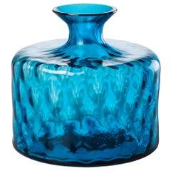 Monofiore Carnevale Short Glass Vase in Aquamarine by Venini