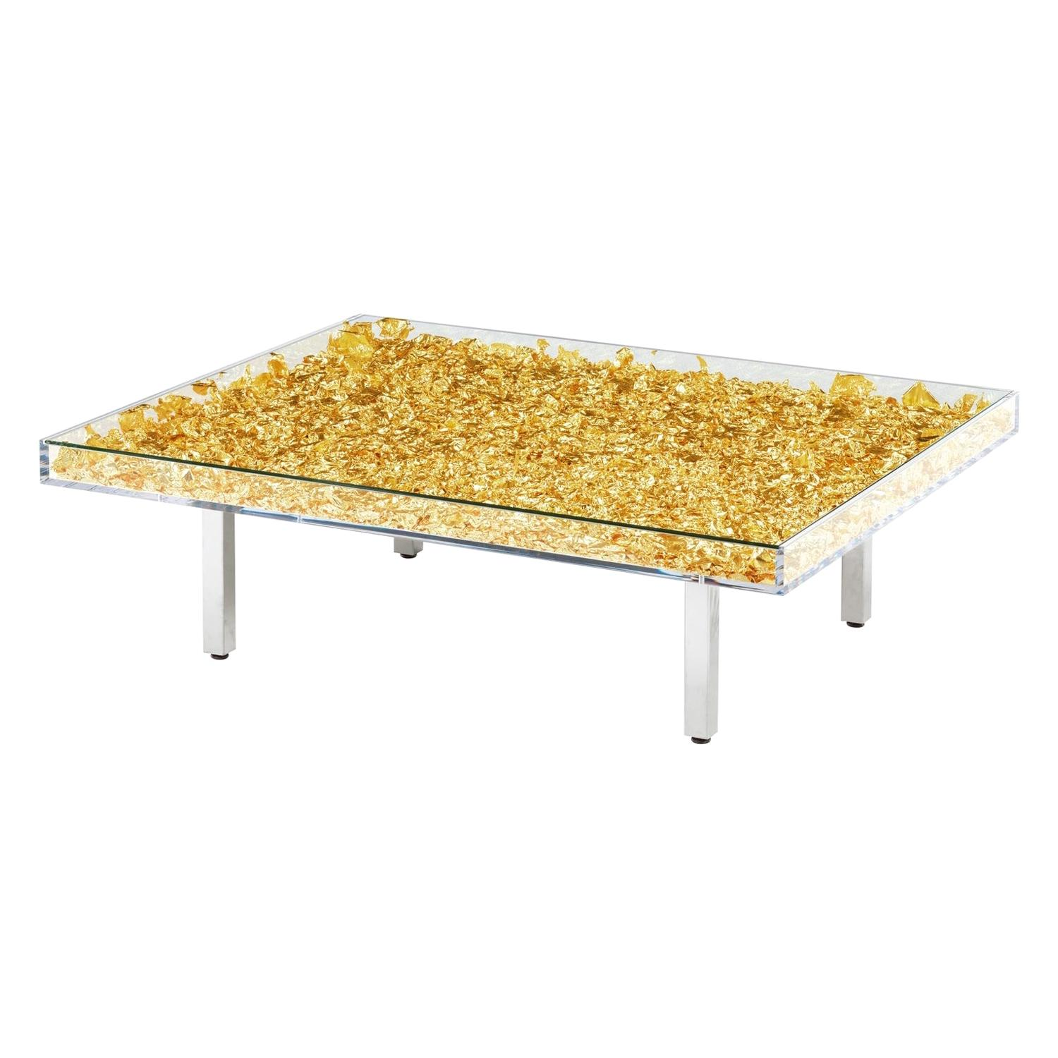 """In Stock in Los Angeles, Yves Klein Gold """"Monogold"""" Glass Table, Made in France"""