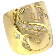 """Monogram """"S"""" Cigar Band Ring in 18 Karat Yellow Gold with White Diamond Accents"""