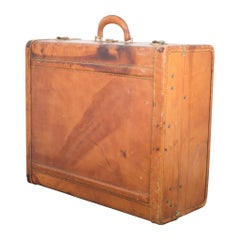 Monogrammed Leather and Brass Suitcase, circa 1940