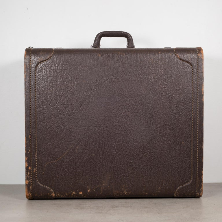 Industrial Monogrammed Leather Luggage, circa 1940 For Sale