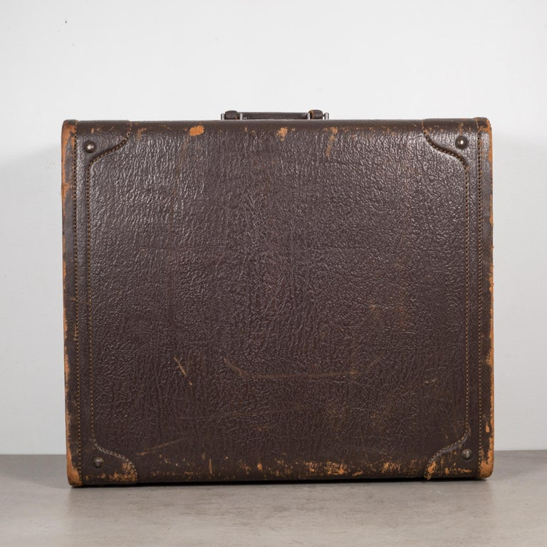 Monogrammed Leather Luggage, circa 1940 In Good Condition For Sale In San Francisco, CA