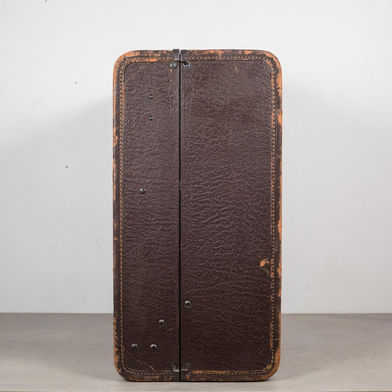 Metal Monogrammed Leather Luggage, circa 1940 For Sale