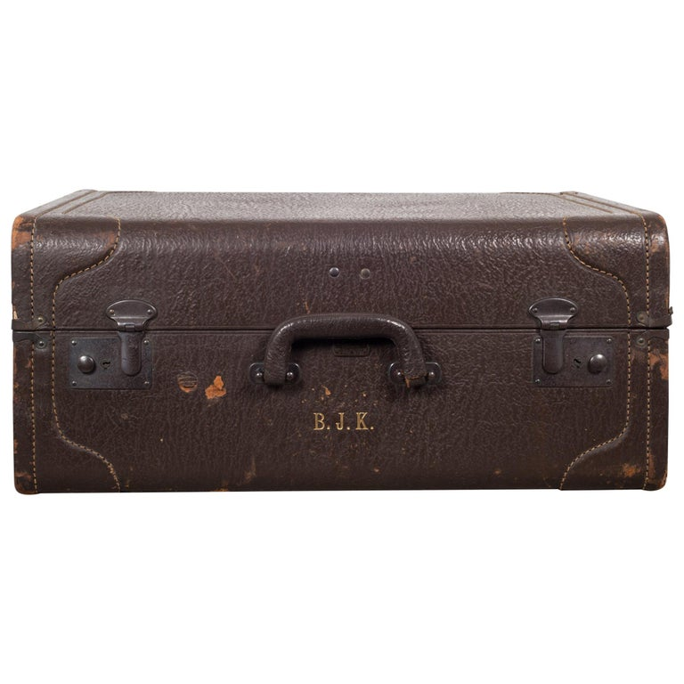 Monogrammed Leather Luggage, circa 1940 For Sale