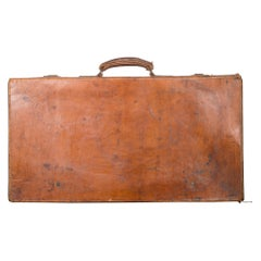 Monogrammed Leather Suitcase with Brass Locks, circa 1940
