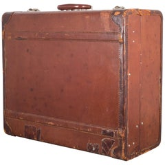 Monogrammed Medium Leather Suitcase, circa 1940