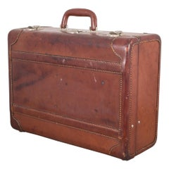 Monogrammed Small Leather Suitcase, circa 1940