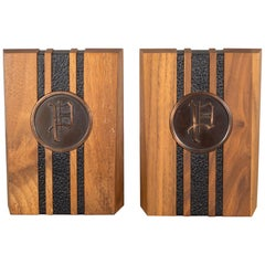 Monogrammed Walnut and Brass Bookends, circa 1960