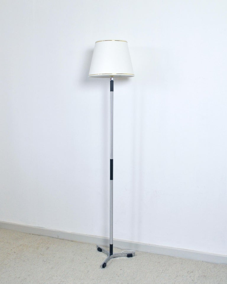 Monolit floor lamp designed by Jo Hammerborg for Fog & Mørup 1960s in Denmark. Aluminium and blackened wood stem with chromed base. Fine vintage condition with signs of wear and use. Rewired. Item comes without shade.