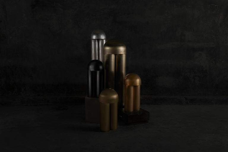 Monolith Brass Sculpted Table Lamp by Paul Matter In New Condition For Sale In Collonge Bellerive, Geneve, CH