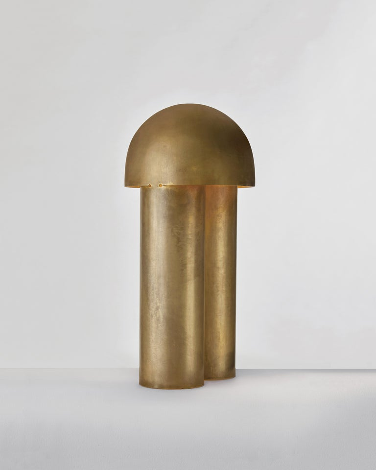 Monolith Brass Sculpted Table Lamp by Paul Matter For Sale 1