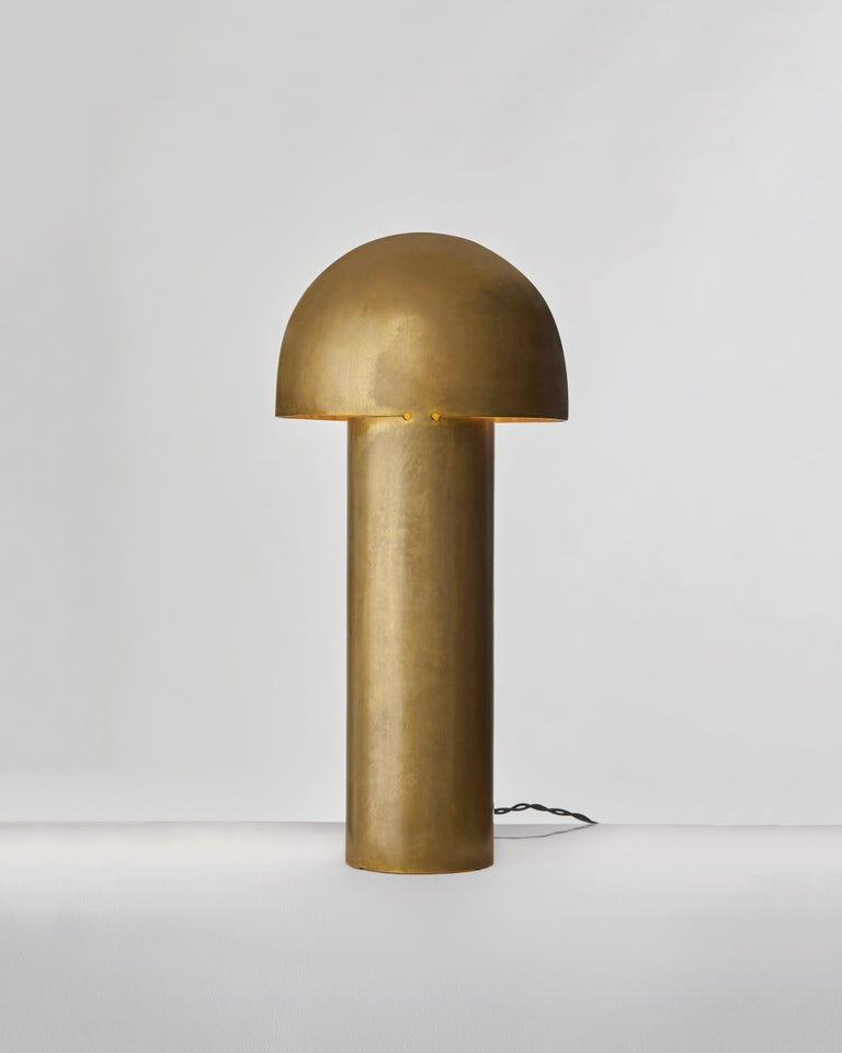 Monolith Brass Sculpted Table Lamp by Paul Matter For Sale 3
