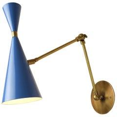 'Monolith' Italian Reading Lamp Brass & Bright Blue Enamel Blueprint Lighting