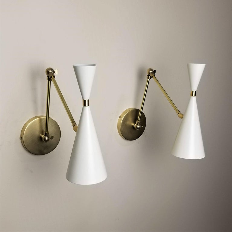 Mid-Century Modern 'Monolith' Italian-Style Reading Lamp Brass & White Enamel by Blueprint Lighting For Sale