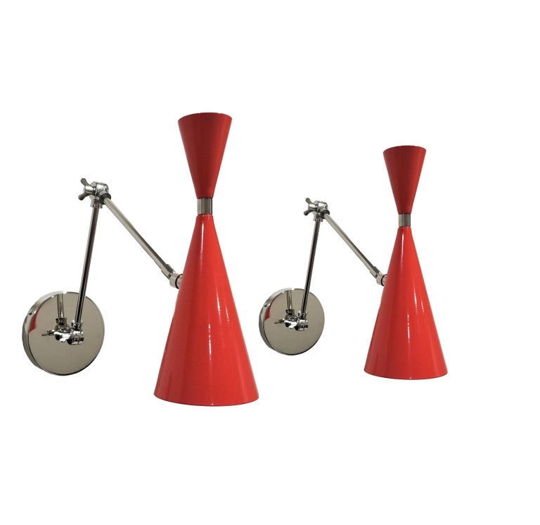'Monolith' Reading Lamp in Red Orange and Polished Nickel, Blueprint Lighting For Sale