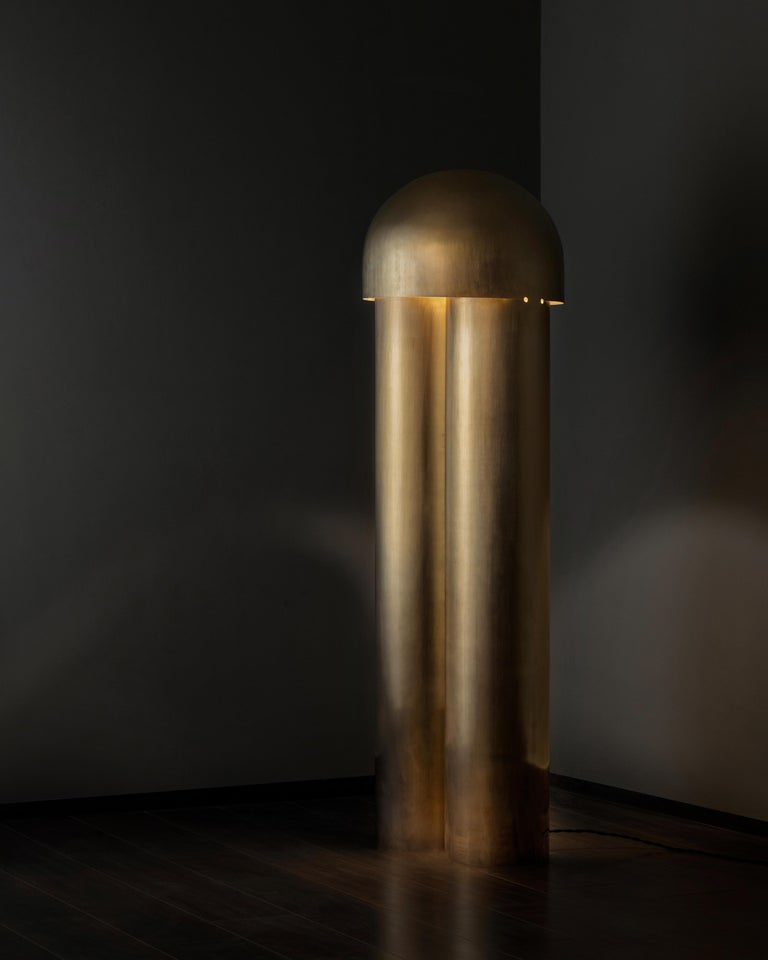 Monolith Silvered Brass Sculpted Table Lamp by Paul Matter For Sale 5