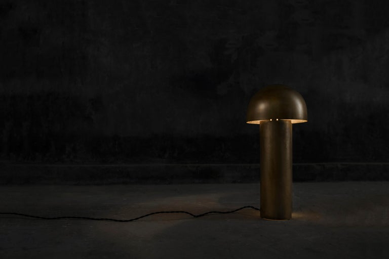 Monolith Silvered Brass Sculpted Table Lamp by Paul Matter For Sale 6